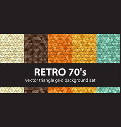 Triangle pattern set retro 70s seamless vector