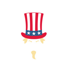 uncle sam in a striped hat patriotic american vector image