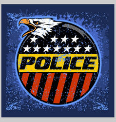 Usa police badge and shield label on grunge vector
