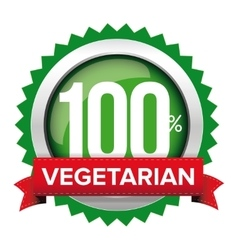 Vegetarian badge with red ribbon vector