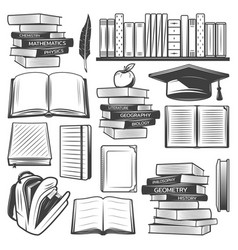 Vintage education elements set vector