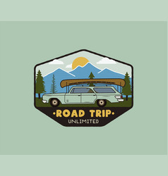 Vintage hand drawn road trip logo patch vector