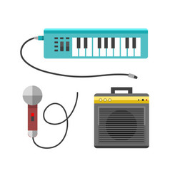 Vintage synthesizer musical equipment flat design vector