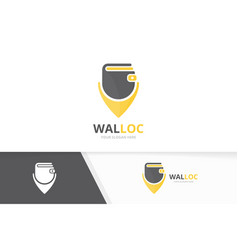 wallet and map pointer logo combination vector image