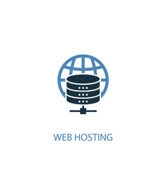 Web hosting concept 2 colored icon simple blue vector