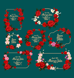 Wedding invitation floral card with rose frame vector