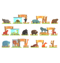 Wild animals behind shed in zoo set vector
