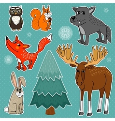 Winter forest animals vector