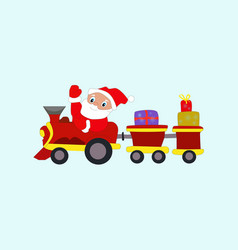 Winter new year christmas santa claus in train vector