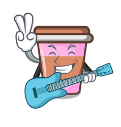 with guitar coffee cup mascot cartoon vector image