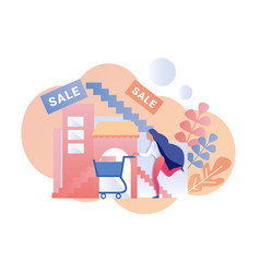 Woman hurrying for sale advertising flat banner vector