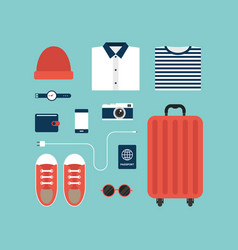 world travel icons and object concept flat design vector image