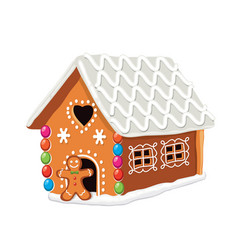 Xmas colorful gingerbread house vector