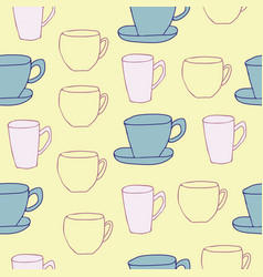 Yellow cups seamless pattern design vector