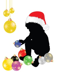 baby with christmas hat and decoration vector image