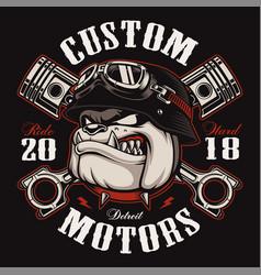 biker bulldog biker t-shirt design color version vector image vector image