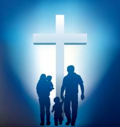 christian family silhouette vector image vector image