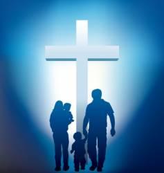 christian family silhouette vector image