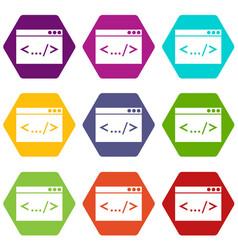 code window icon set color hexahedron vector image