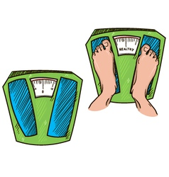 Feet on weight scales healthy weight vector