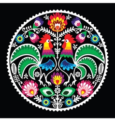 Polish floral embroidery with roosters - folk vector image