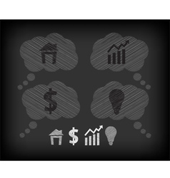 Business icons on the blackboard vector image vector image