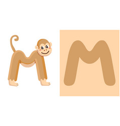m is for monkey letter m monkey cute vector image
