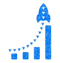 Rocket business bar chart grunge icon vector
