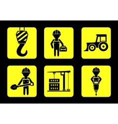 set yellow construction icon on flat design style vector image vector image
