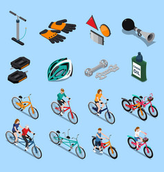 bicycle isometric icon set vector image vector image