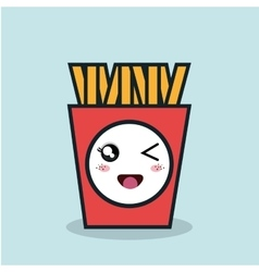 cartoon fries french with facial expression vector image