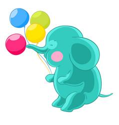 Cartoon green cute elephant trunk inflates vector