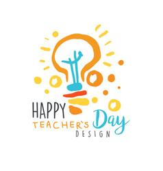 Happy teachers day label design back to school vector