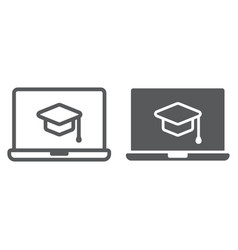 online course line and glyph icon e learning vector image