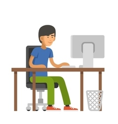 Programmer Writes Code for a Computer Young Man vector image