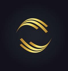 Round shape circle gold logo vector