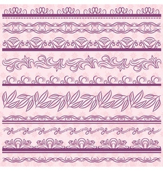 Set of Lace Paper with flower over pink background vector image