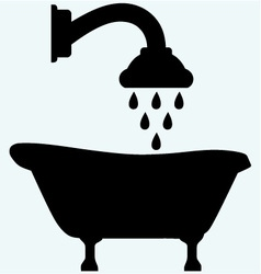 Symbol view of bath and shower head vector image vector image
