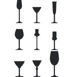 Wineglass silhouette set vector image