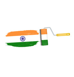 brush stroke with india national flag isolated on vector image