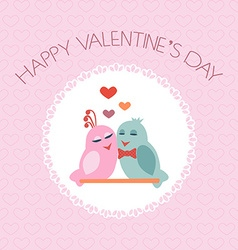 Card for Valentines Day Birds Heart Label vector image vector image