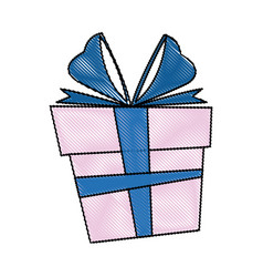 gift box christmas present bow ribbon decoratio vector image