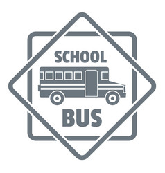 school bus logo simple gray style vector image vector image