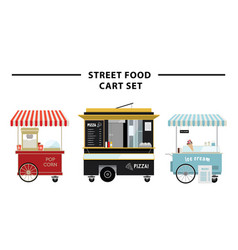 street food cart set vector image