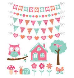 summer decoration and design elements set vector image vector image
