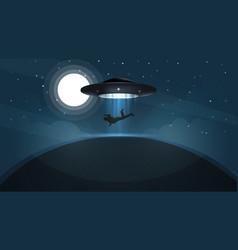 ufo kidnaps a person - cartoon vector image