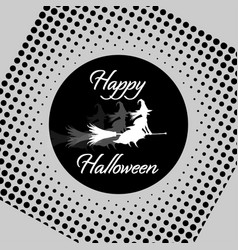 white witch on black moon in retro style vector image