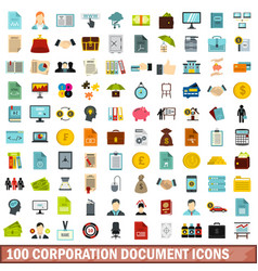 100 corporation document icons set flat style vector image