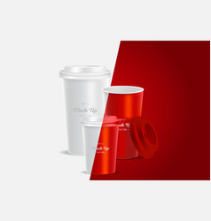 3 red coffee cups mockup on background vector