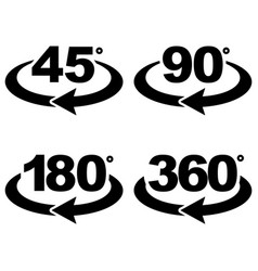 45 90 180 and 360 degrees view sign icons vector